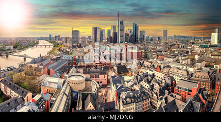 High resolution panorama of Frankfurt am Main, Skyline with financial district. Germany - Stock Photo