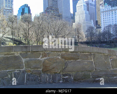 Central Park bridge, famous bridge in Central park, view over pond in Central Park, New York - Stock Photo