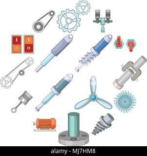 Mechanism parts icons set, cartoon style - Stock Photo