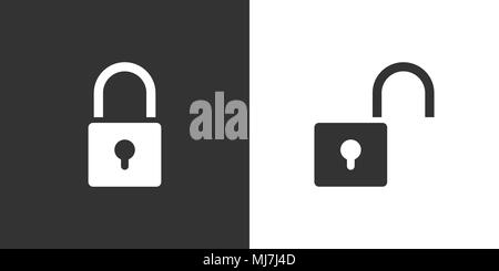 Lock and unlock icon on black and white background. Vector illustration - Stock Photo