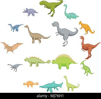 Different dinosaurs icons set, cartoon style - Stock Photo