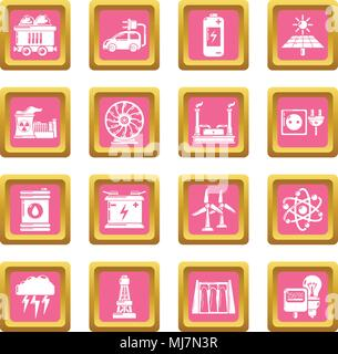 Energy sources icons set pink square vector - Stock Photo