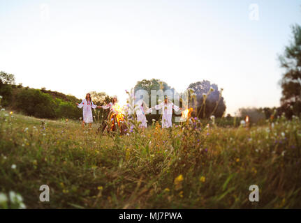 The celebration of the pagan Slavic holiday of Ivan Kupala Day or Midsummer. - Stock Photo