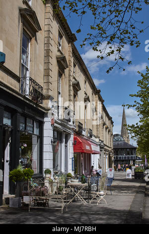Shops in the Montpellier district of Cheltenham Spa town, Gloucestershire - Stock Photo