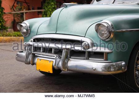 Old classic car in Cuba - Stock Photo
