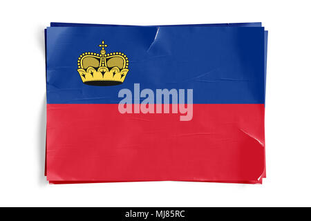 Realistic illustration of Liechtenstein flag on torned, wrinkled, dirty, grunge paper poster. Three of them on top of eachother. 3D rendering. - Stock Photo