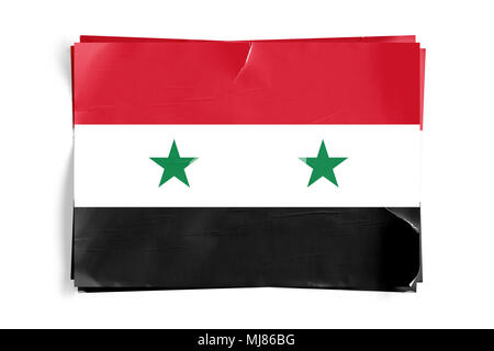 Realistic illustration of Syrian flag on torned, wrinkled, dirty, grunge paper poster. Three of them on top of eachother. 3D rendering. - Stock Photo