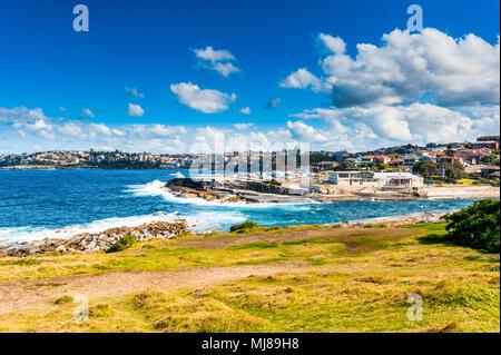 A view of a beautiful bay along the famous Coogee to Bondi Beach walk, Sydney Australia. - Stock Photo
