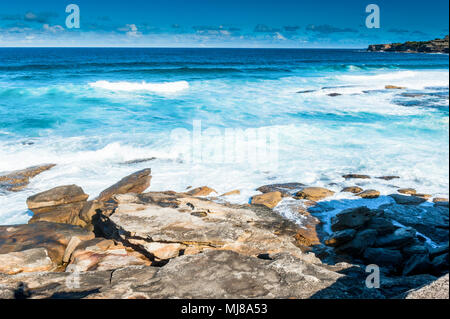 The views of the stunning coastline along the famous Coogee beach walk between Coogee and Bondi Beach ,Sydney, New South Wales , Australia. - Stock Photo