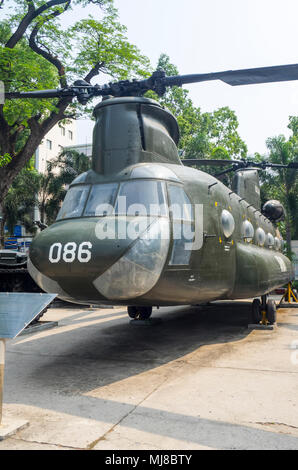 US Army Boeing CH-47 Chinook helicopter from the Vietnam War on display at the War Remnants Museum, Ho Chi Minh City, Vietnam. - Stock Photo