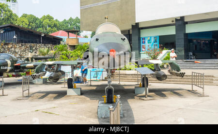 US Air Force Northrop F-5A fighter plane from the Vietnam War on display at the War Remnants Museum, Ho Chi Minh City, Vietnam. - Stock Photo