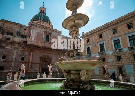 Palermo, Sicily, piazza Pretoria - Stock Photo