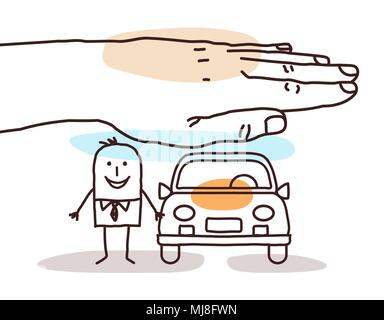 Protecting Big Hand - Cartoon Man with Car - Stock Photo