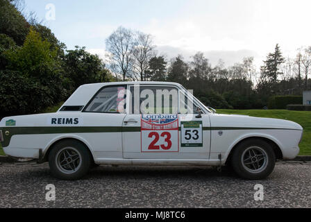 1967 White Ford Lotus Cortina Mk II Sports Saloon Car offside right hand drivers side view of 1967 white with green stripe ford lotus cortina mark 2 c - Stock Photo