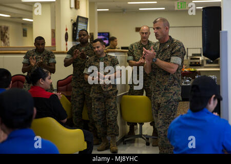 U.S. Marine Corps Col. Giles R. Boyce, Headquarters Battalion, 3d Marine Division Commanding Officer and Camp Commander speaks at the Camp Courtney Mess Hall, Camp Courtney, Okinawa, Japan, April 20, 2018. The Camp Courtney Mess Hall was awarded Best Management and Mess Attendant Mess Hall for the 2018 Major General W.P.T. Hill Memorial Awards for Food Service Excellence. (U.S. Marine Corps photo by Pfc. Krysten I Gomez) - Stock Photo