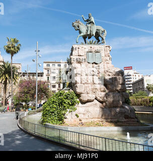 Palma, Mallorca, Spain. A statue of King Jaima Juame Primero of Aregon on horseback at Placa Espanya, Palma - Stock Photo