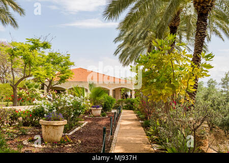 Garden of the Church Of The Beatitudes where Jesus preached the Sermon on the Mount. - Stock Photo