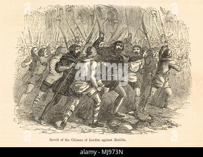 revolt of London citizens against Empress Matilda, June 1141 - Stock Photo