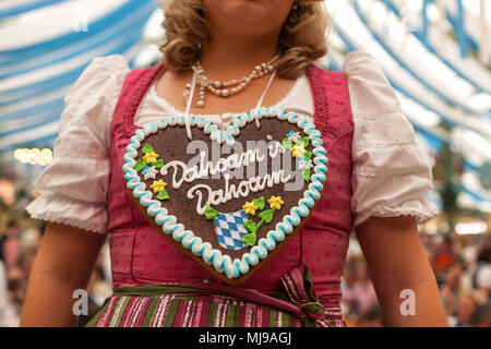 bavarian woman dressed in traditional dirndl holding beer glasses stock photo 283461065 alamy. Black Bedroom Furniture Sets. Home Design Ideas