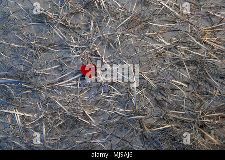 A red glass heart at the centre of a tangle of card offcuts on a background of slate. False colour has turned the white card metallic. - Stock Photo