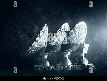 A group of large radio telescopes at night. 3D illustration - Stock Photo