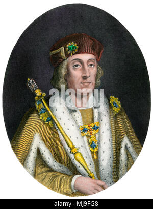 Henry VII, or Henry Tudor, King of England 1457-1509. Hand-colored engraving - Stock Photo