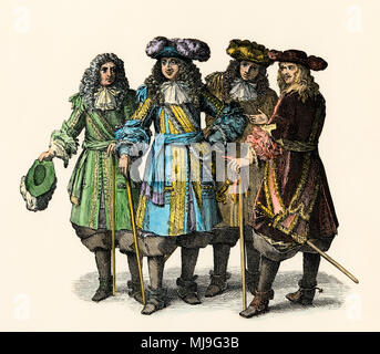 Louis XIV and officers of his court at Versailles, 1600s. Hand-colored woodcut - Stock Photo