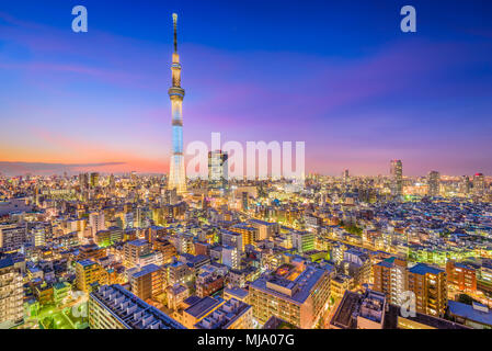 Tokyo, Japan cityscape and tower at dusk. - Stock Photo