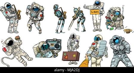 Set collection astronauts and robots - Stock Photo