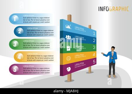 Vector illustration Infographic template in isomatic banner layout design for presentation, business meeting, marketing, techonology workflow, plannin - Stock Photo