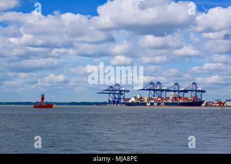 Harwich, Essex, May 2018. MSC container ship in dock across the harbour at the Port of Felixstowe. - Stock Photo