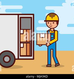 man postal delivery courier man in front of cargo truck delivering package - Stock Photo