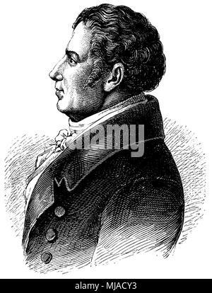 August Wilhelm von Schlegel (born September 8, 1767, died May 12, 1845), - Stock Photo