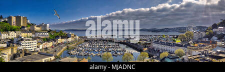 GB - DEVON: Panoramic view of Torquay town and harbour  (HDR Image) - Stock Photo