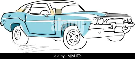 Vintage Muscle Car Drawing On Wooden Background Vector Illustration