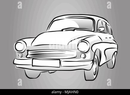 Old East German Car, Grey Shaded Sketch, Vector Hand Drawn Artwork - Stock Photo