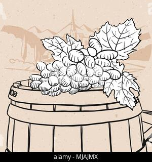 Grapes on sketched wooden barrel with wine, Hand drawn Vector Artwork - Stock Photo