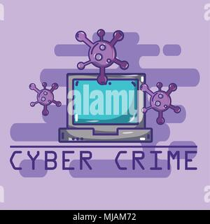 Cyber crime cartoons concept - Stock Photo