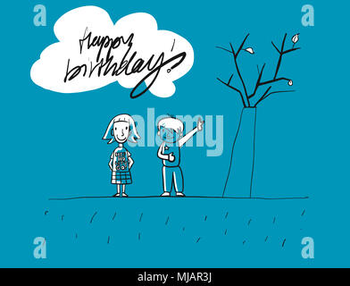 Happy birthday Grunge Kids Greeting Card, Hand-drawn Vector Sketches, Blue Colored Artwork - Stock Photo