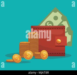 wallet with cash - Stock Photo