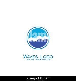 Wave logo, Circle concept template.vector icons. - Stock Photo