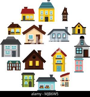 Flat house icons set. Universal house icons to use for web and mobile UI, set of basic house elements isolated vector illustration - Stock Photo