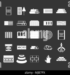 Construction materials icon set vector white isolated on grey background - Stock Photo