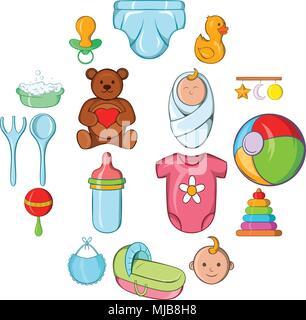 Baby icons set, cartoon style - Stock Photo
