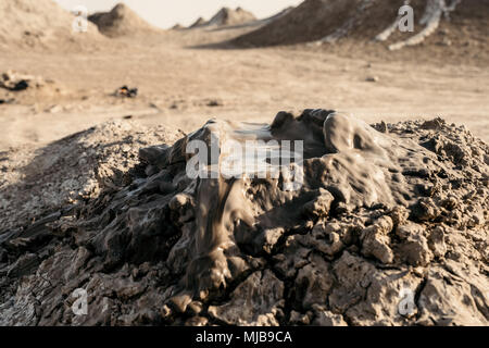Mud volcanos in Gobustan national park in Azerbaijan. - Stock Photo