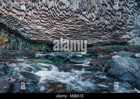 Basalt columns in Garni Gorge. Armenia. - Stock Photo