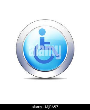 Blue Icon Button Disabled Wheel Chair Symbol Healthcare & Pharma - Stock Photo