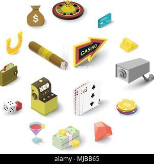 Casino icons set, isometric style - Stock Photo