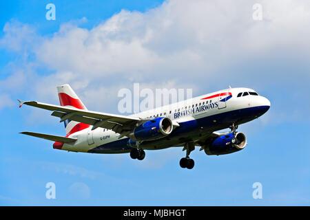 British Airways Airbus A319-131 G-EUPM, Great Britain - Stock Photo