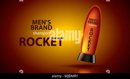 Men's shampoo concept vector poster cosmetic care hair. shampoo bottle on orange background. The bottle is similar to a space rocket - Stock Photo